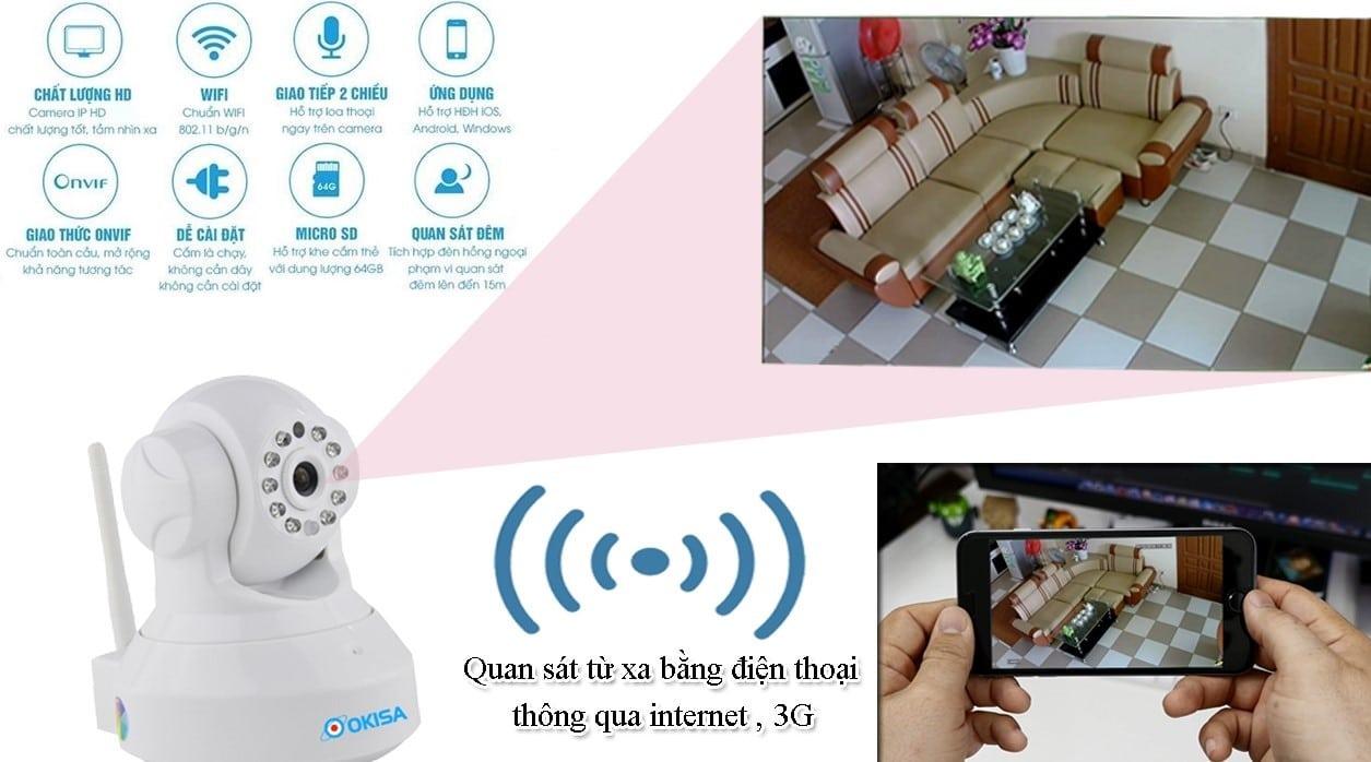 Camera theo dõi từ xa không dây qua điện thoại, máy tính bảng, lap top 24/24