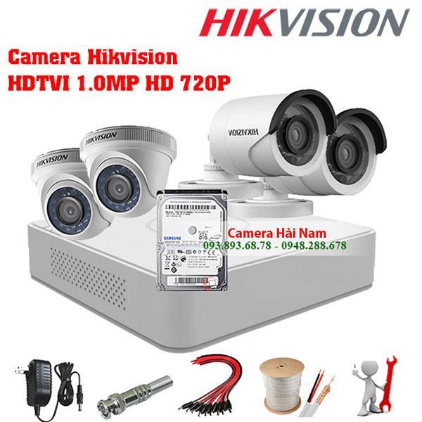 Bộ 4 mắt camera Hikvision 1MP - 2MP