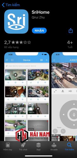 cài đặt camera Srihome trên điện thoại Android, IOS